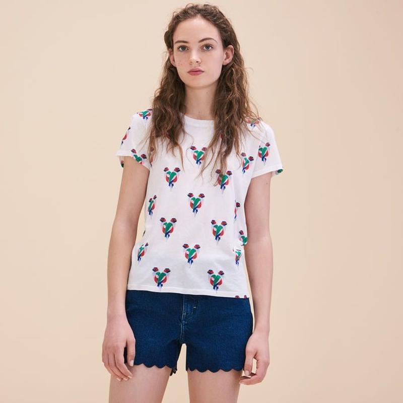 Хлопковая футболка с принтом в виде попугаев