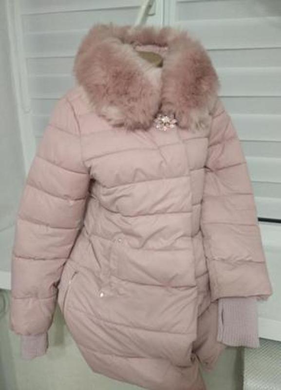 Куртка цвет пудра - теплая зимняя с капюшоном