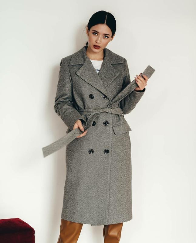 Базовое шерстяное зимнее пальто на синтепоне