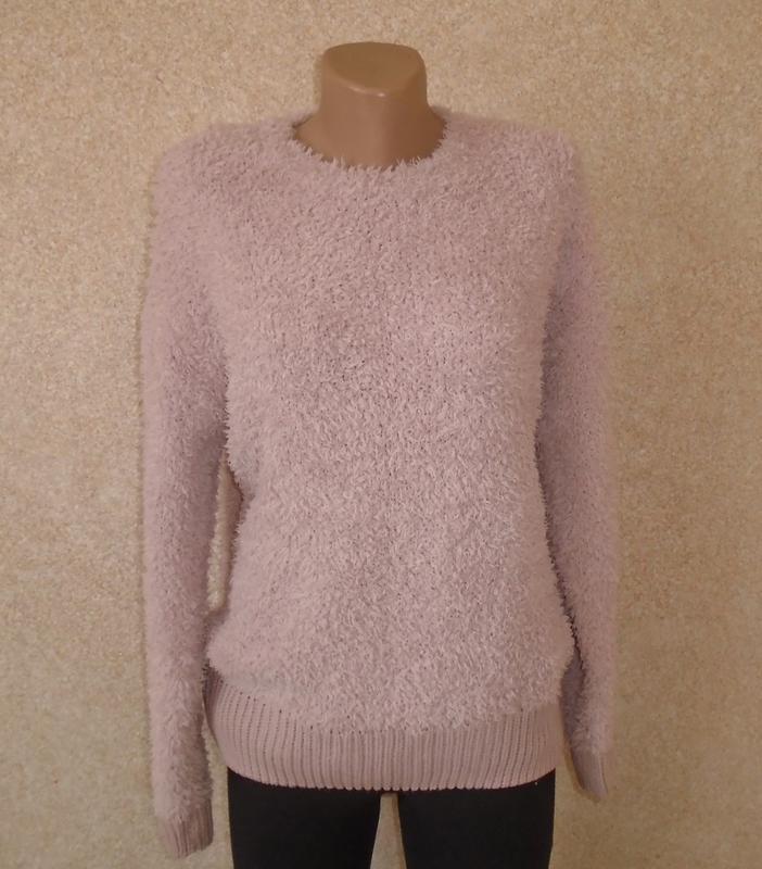 Плюшевой теплый свитер пудрового цвета/джемпер нюд/кофта