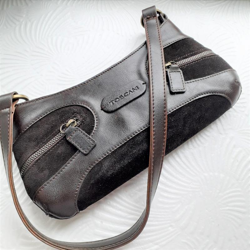 Женская коричневая сумка-седло с короткой ручкой италия