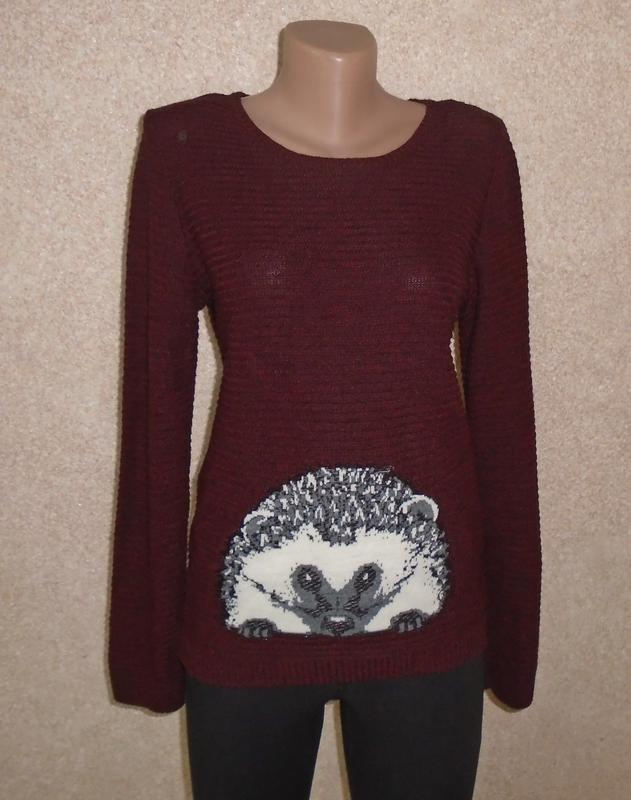Бордовый джемпер с ежиком/свитер/кофта/светр з їжаком