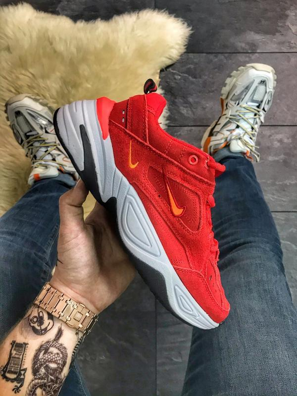 Nike m2k tekno red white, женские замшевые кроссовки найк, кра...