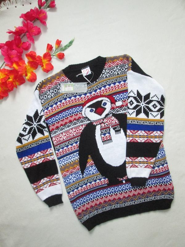 Суперовый новогодний свитер с пингвином в норвежский орнамент ...