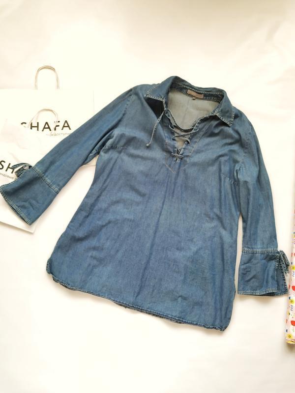 Джинсовая рубашка со шнуровкой на декольте kappaahl