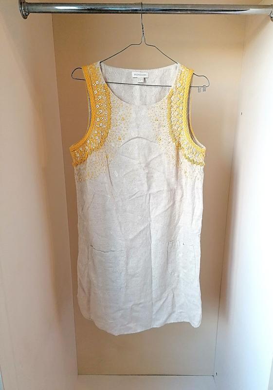 Натуральное летнее платье вискоза катон лен с бисером с вышивк...