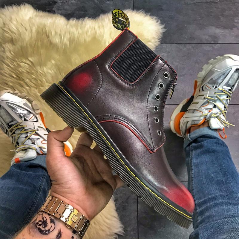Мужские dr martens gusset red.стильные бардовые сапоги/ботинки...