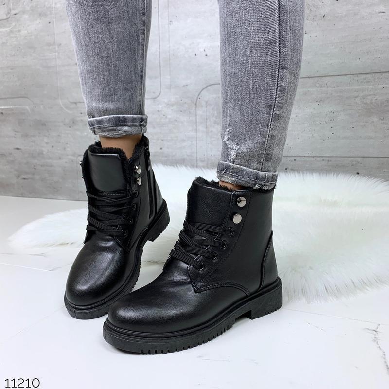 Стильные зимние ботинки на низком ходу, чёрные зимние ботинки.