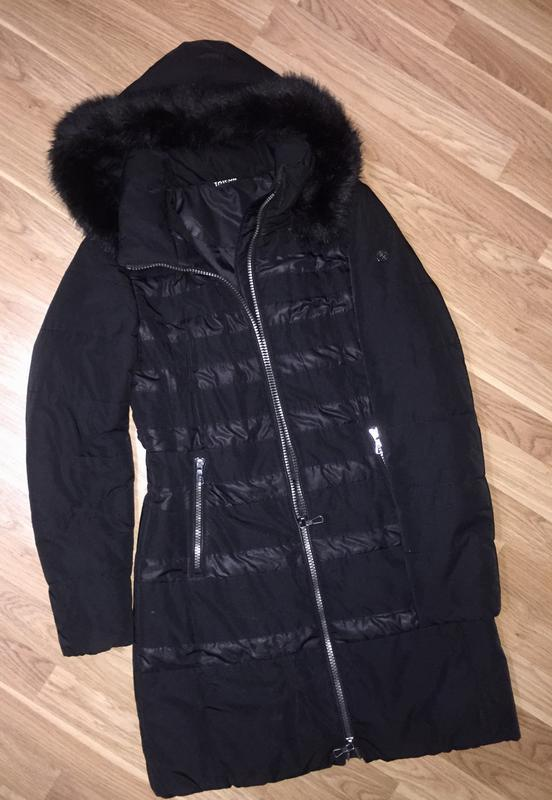 Зимняя тёплая стеганая куртка длинная пальто с капюшоном