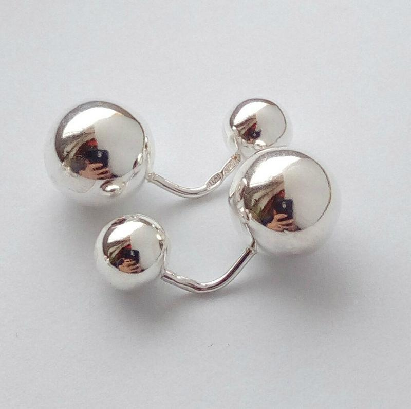 Серебряные серьги шарики