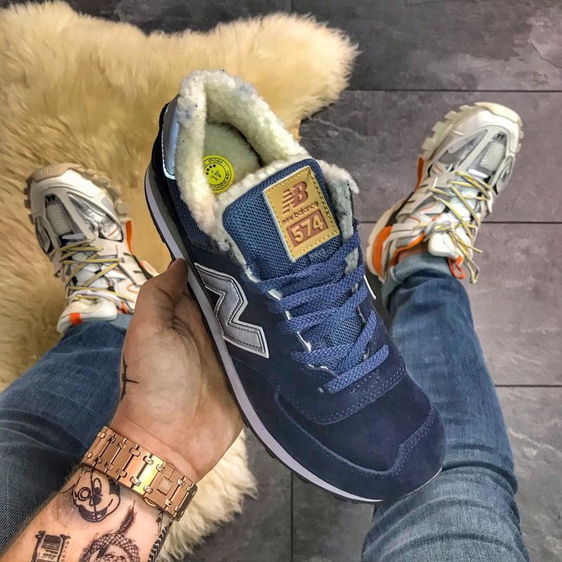 ✳️new balance 574 blue fure✳️зимние синие мужские кроссовки нь...