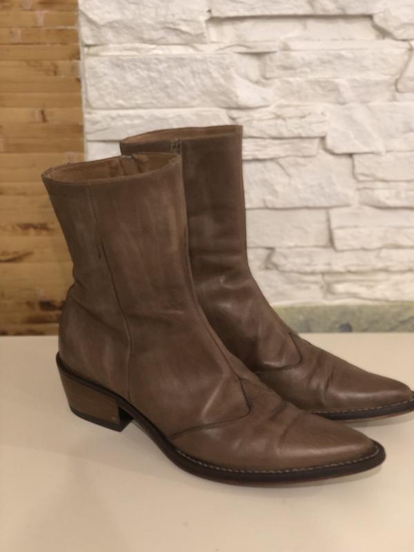 Кожаные ботинки сапоги казаки светло-коричневого цвета marc o ...