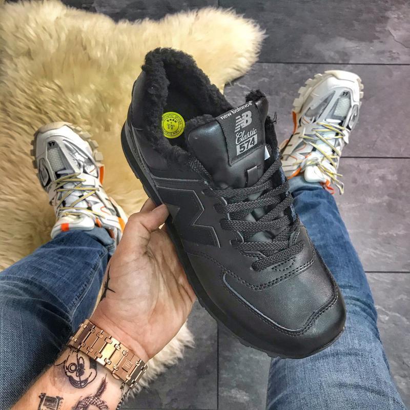 ✳️new balance 574 black fure✳️зимние чёрные мужские кроссовки ...