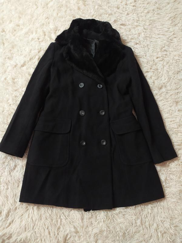 Шерстяне двуборне пальто з хутром 100 % шерсть