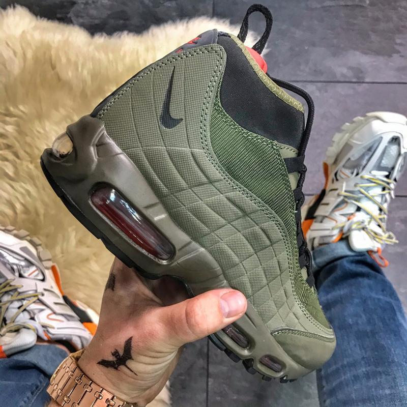 Nike air max 95 sneakerboot green, мужские осенние/весенние кр...