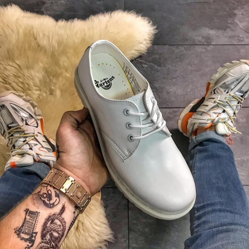 Dr. martens 1461 white, мужские/женские стильные белые туфли м...