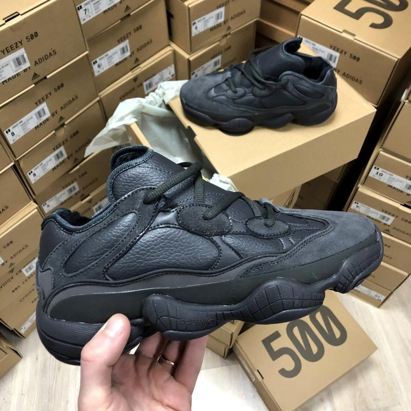 🌹зимние adidas yeezy boost 500🌹женские кожаные чёрные кроссовк...