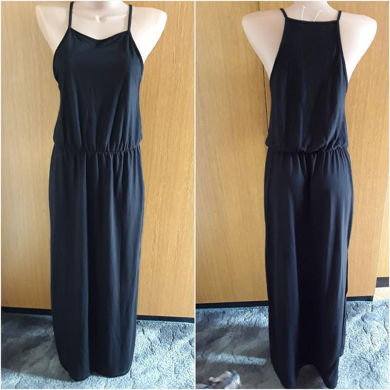 Черное платье майка в пол