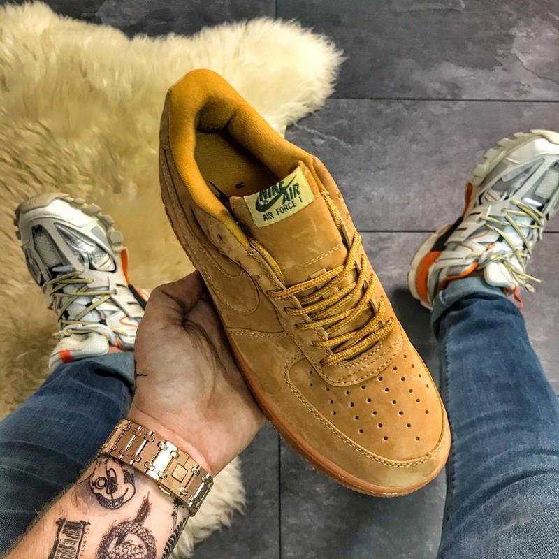 😎nike air force 1'07 wb light flax, мужские стильные кроссовки...