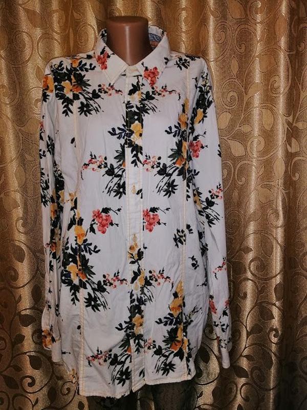 🌺🎀🌺стильная женская белая блузка, рубашка в цветочный принт jo...