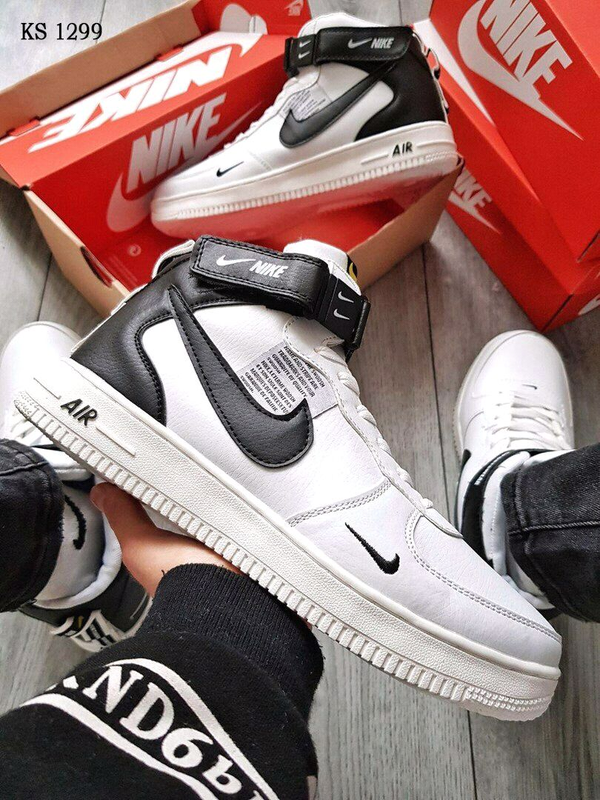 Кроссовки Nike Air Force White x Black зимние / ботинки / найк