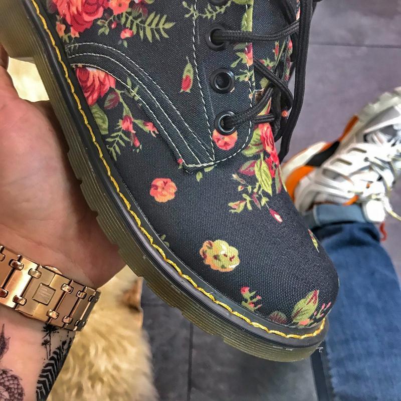 Женские ботинки black flower, как dr martens, осенние/весенние... - Фото 6