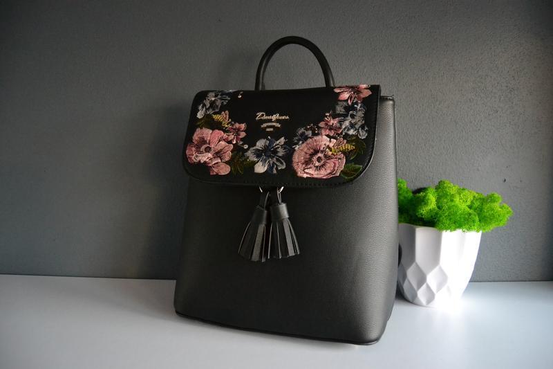 Рюкзак чорний з вишивкою david jones оригінал