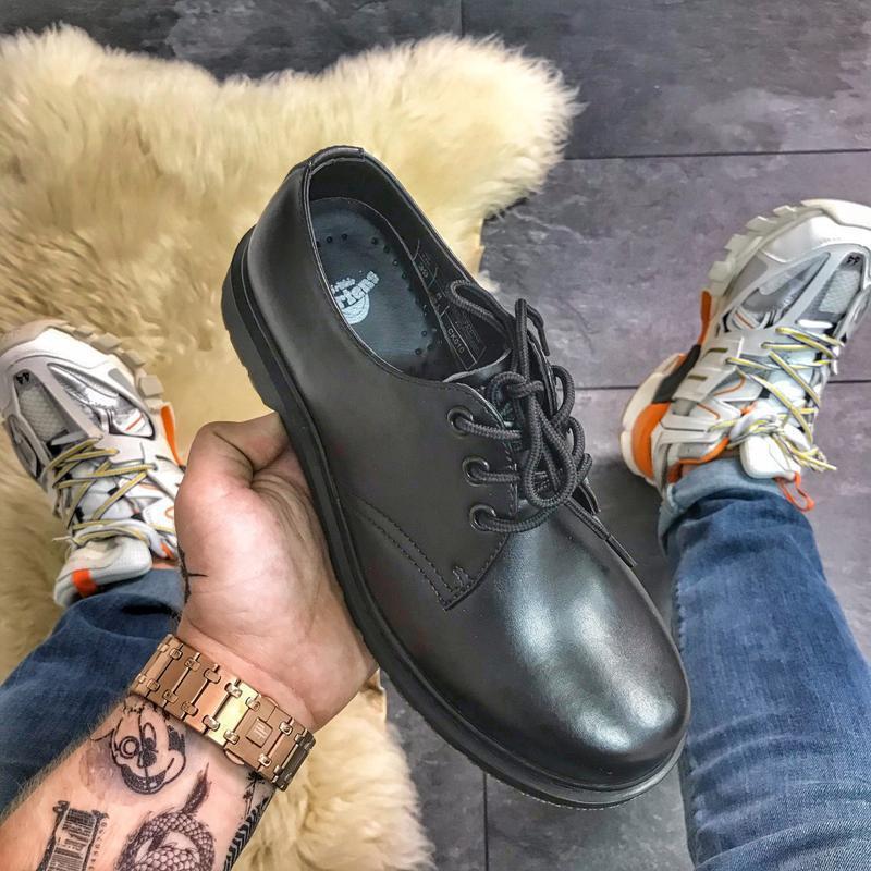 Dr martens 1461 mono black, мужские чёрные кожаные туфли марти...