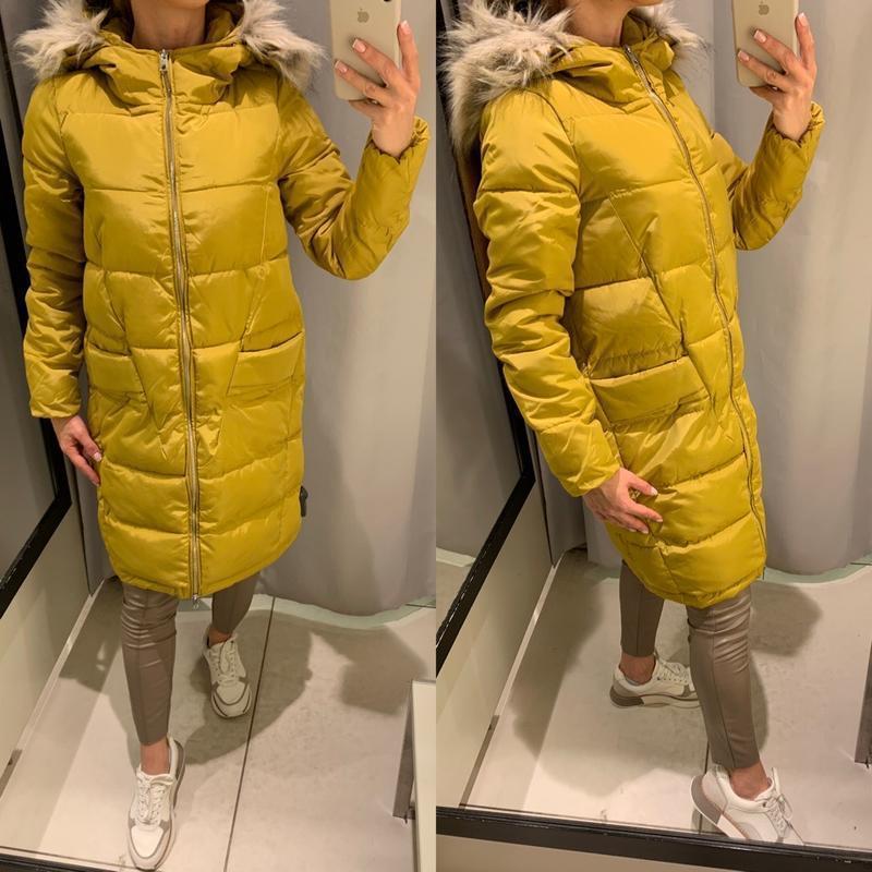 Тёплое горчичное пальто желтая куртка с капюшоном курточка res...