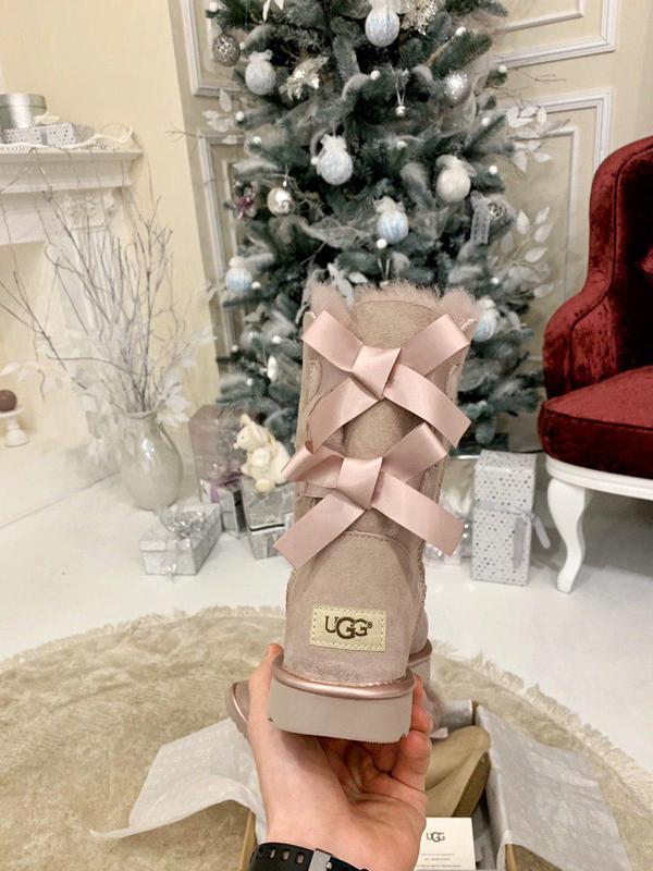 Ugg bailey bow pink! женские замшевые зимние угги/ сапоги/ бот... - Фото 4
