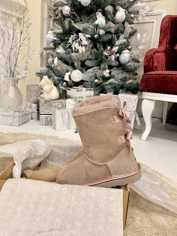Ugg bailey bow pink! женские замшевые зимние угги/ сапоги/ бот... - Фото 5