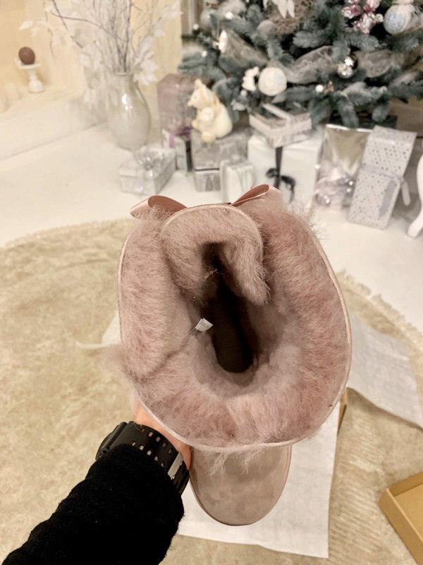 Ugg bailey bow pink! женские замшевые зимние угги/ сапоги/ бот... - Фото 8