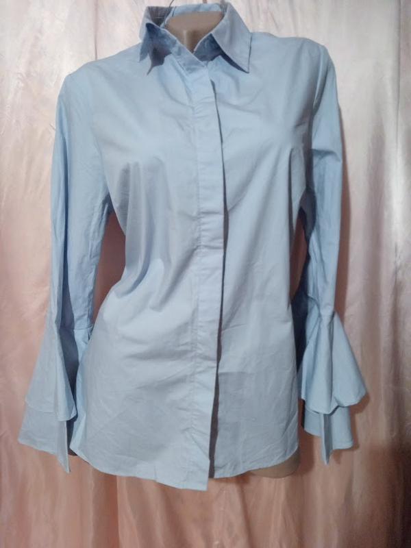 Рубашка нежно голубая с рюшами 🎆cotton🎆next