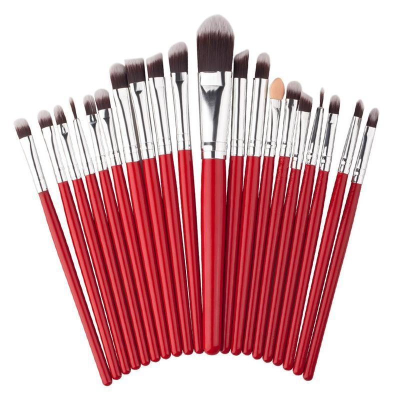Кисти для макияжа набор 20 шт red/silver