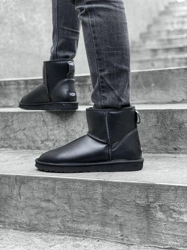Ugg classic mini! мужские кожаные зимние угги/ сапоги/ ботинки...