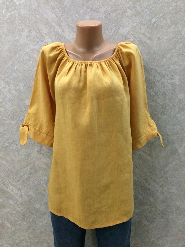 Блуза с завязками 100% лен