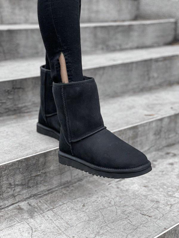 Ugg classic short black! женские замшевые зимние угги/ сапоги/...