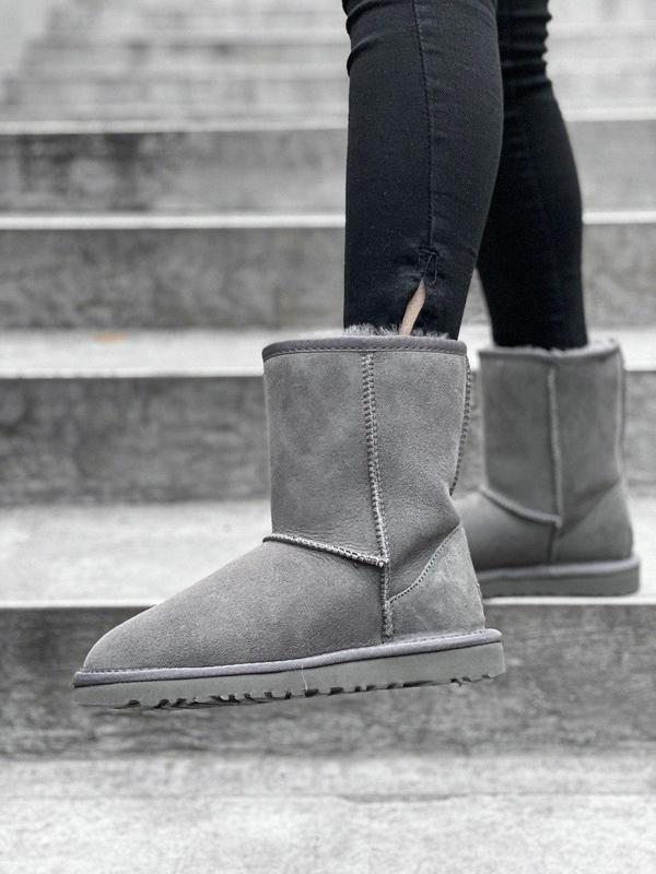 Ugg classic short grey! женские замшевые зимние угги/ сапоги/ ...