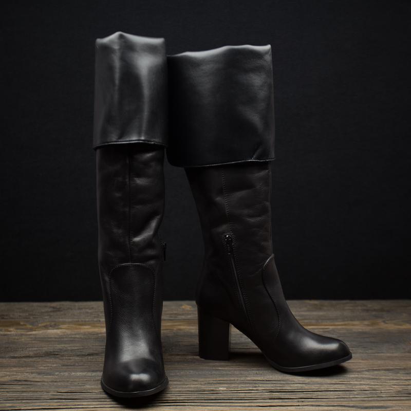Женские осенние кожаные сапоги ботфорды andre р-39