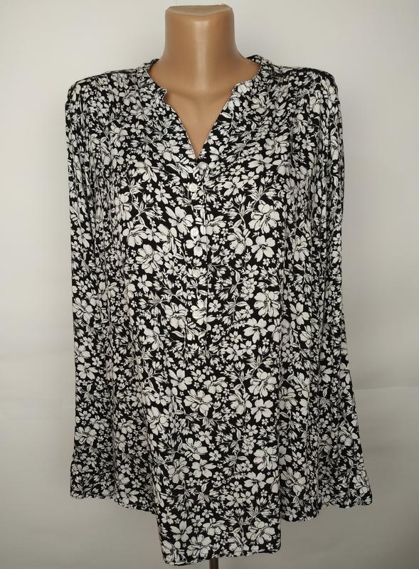 Блуза натуральная легкая в цветочный принт большой размер uk 1...