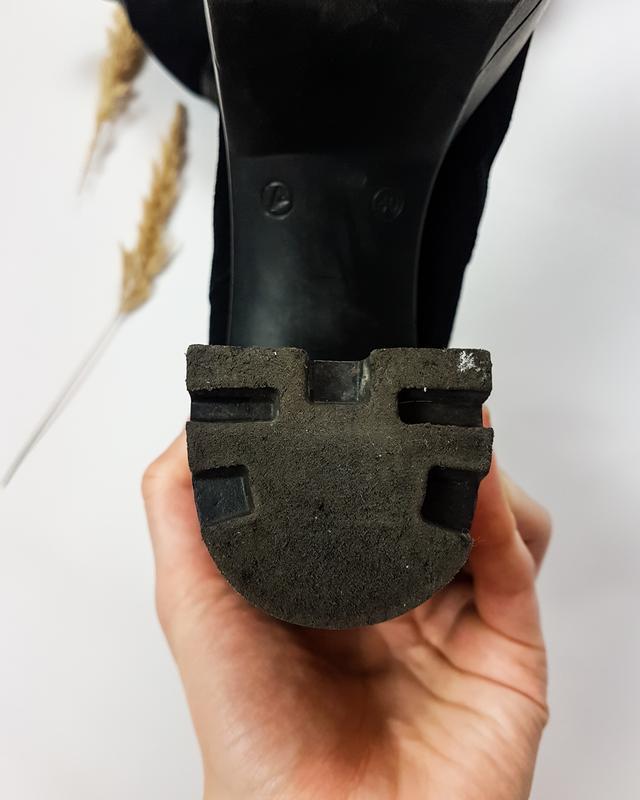 Черные ботинки - ботильоны из натуральной замши на тракторной ... - Фото 7