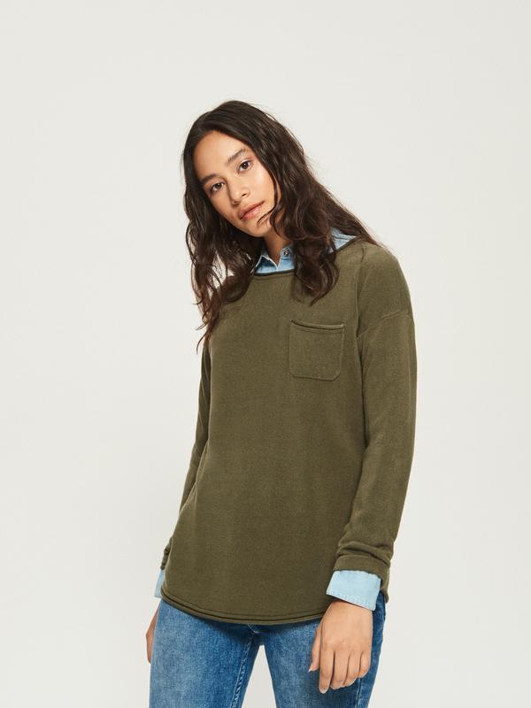 Новая широкая болотная кофта хаки свитер темно-горчичный джемп...
