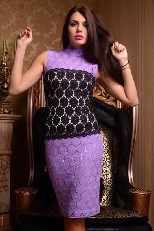 Гипюровое сиреневое платье платье размер л.