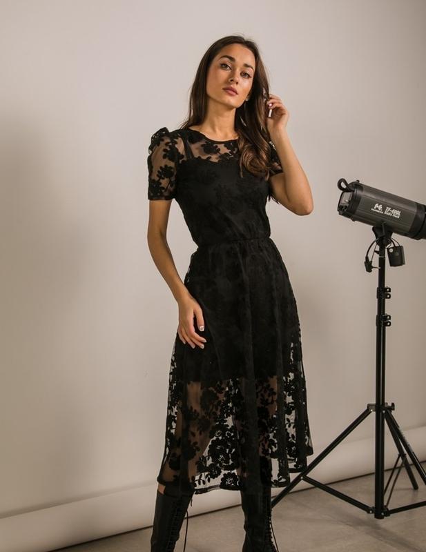 Кружевное нарядное платье сукня з мереживом - Фото 2
