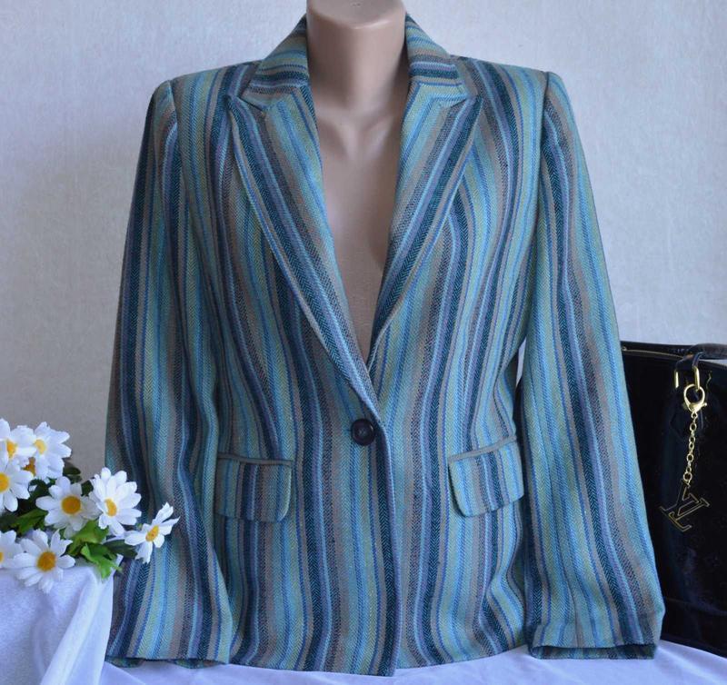 Брендовый пиджак жакет блейзер с карманами reflections шерсть
