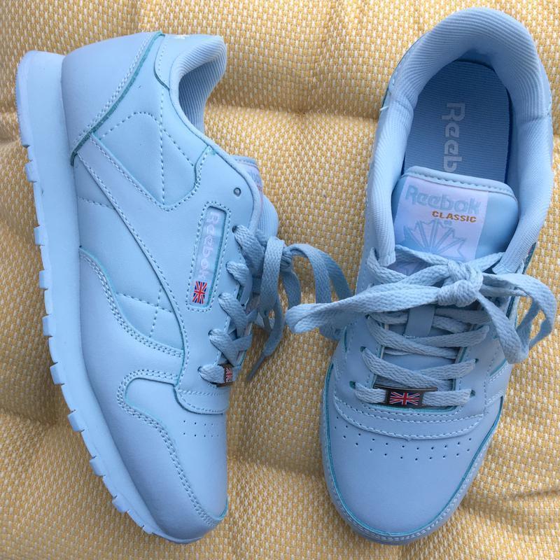 Кроссовки голубые из натуральной кожи в стиле reebok classic
