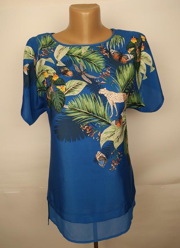 Блуза комбинированная красивая в тропический принт вышивка uk ...
