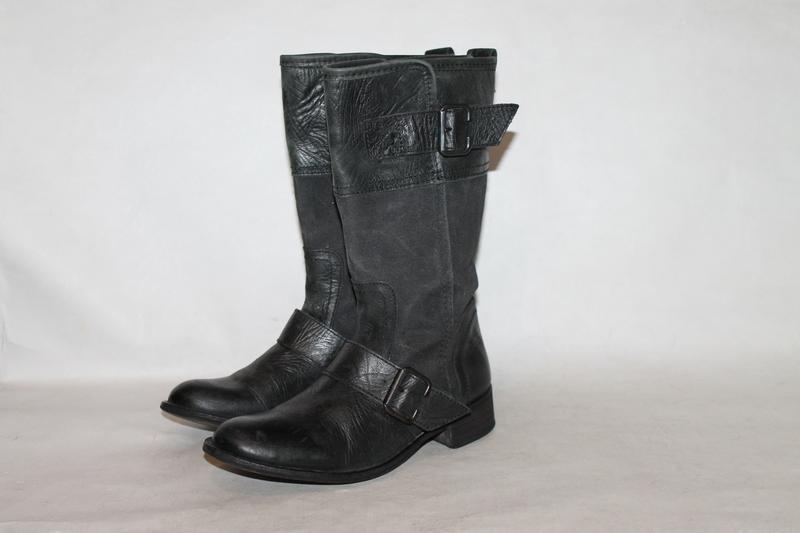 Стильные кожаные сапоги zara 36 размер кожа+деним