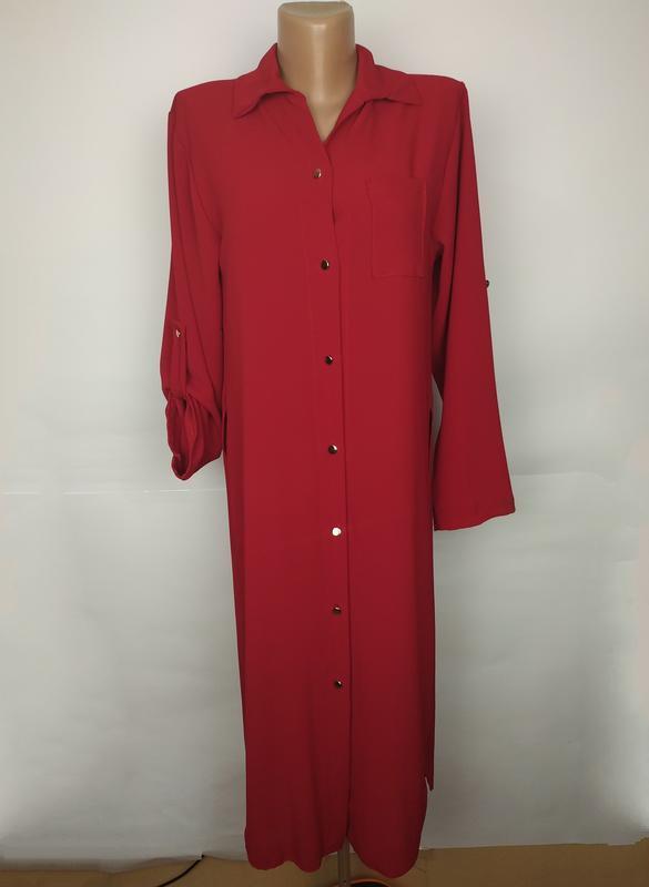 Платье рубашка красное стильное итальянское uk 12/40/m