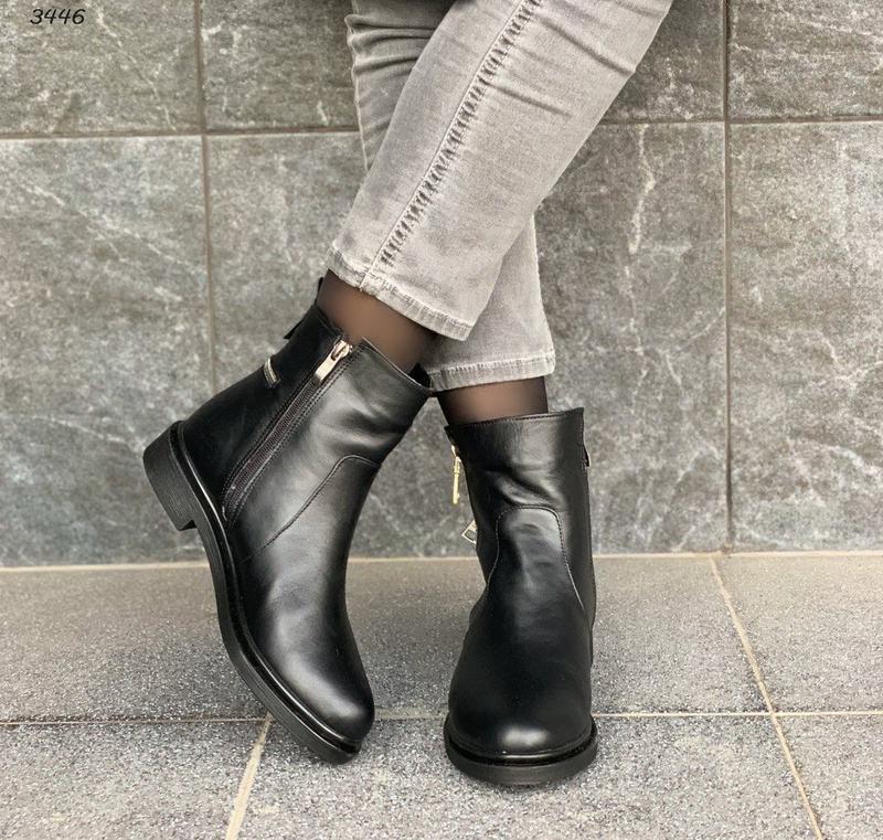 Новые женские кожаные зимние черные ботинки